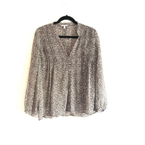 Joie Tops - Joie Silk Sheer Floral Blouse Black and White